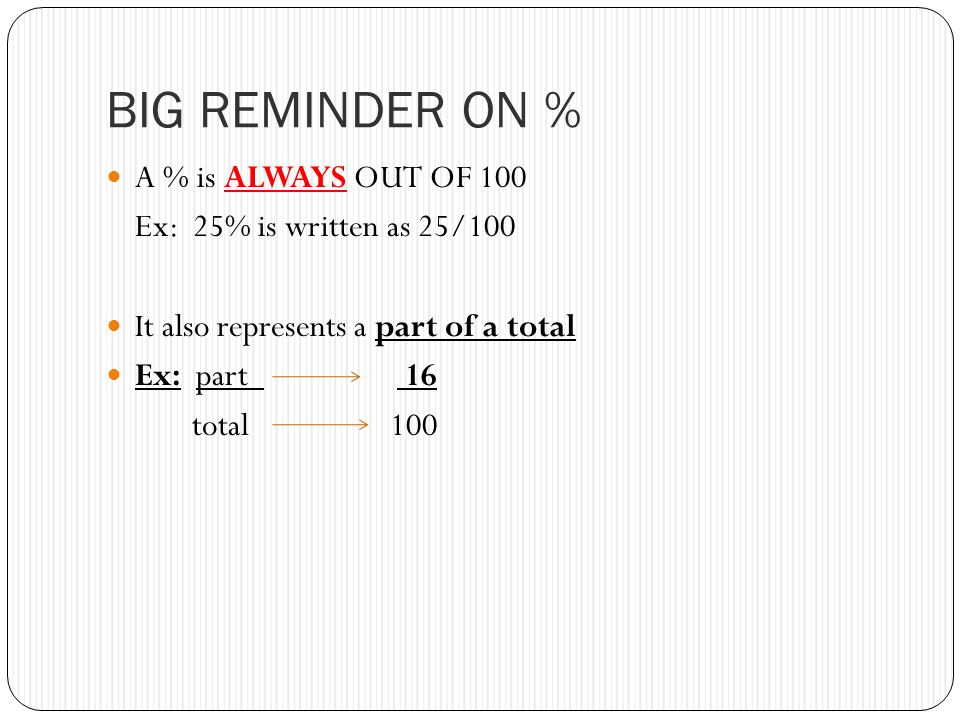 BIG REMINDER ON % A % is ALWAYS OUT OF 100 Ex: 25% is written as 25/100 It also represents a part of a total Ex: part 16 total 100