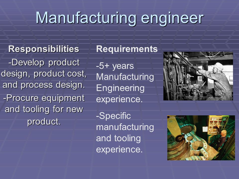 Responsibilities -Develop product design, product cost, and process design.