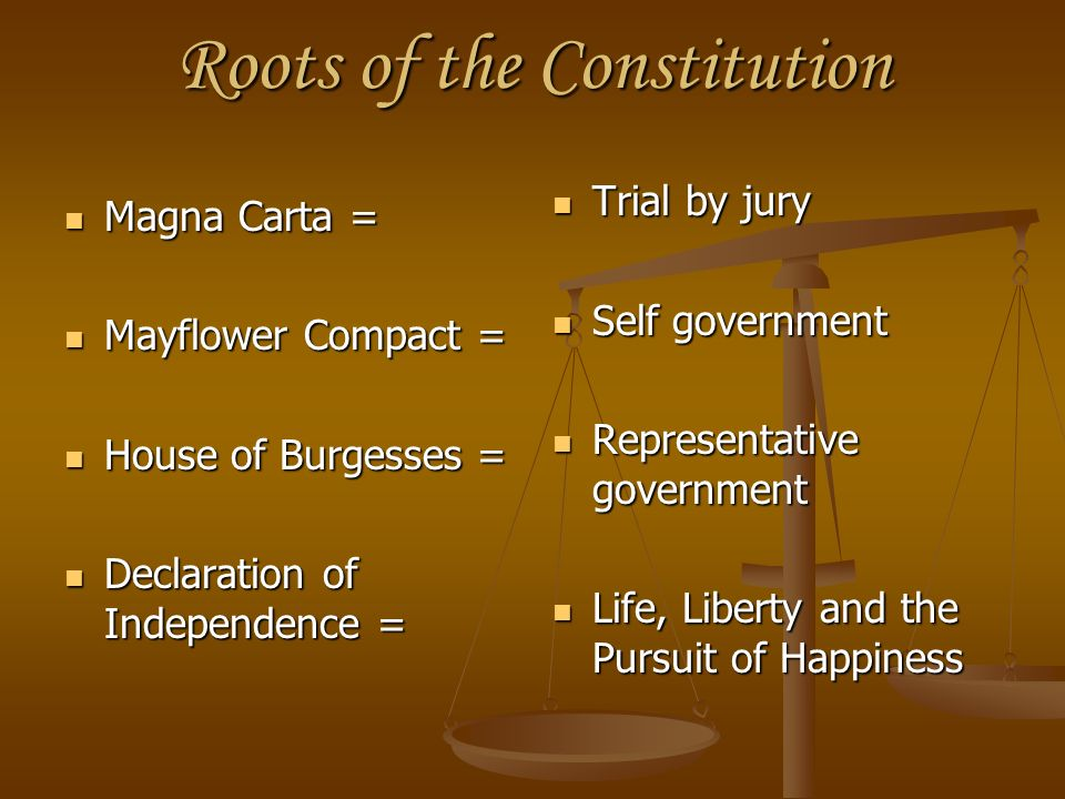 Roots of the Constitution Magna Carta = Magna Carta = Mayflower Compact = Mayflower Compact = House of Burgesses = House of Burgesses = Declaration of
