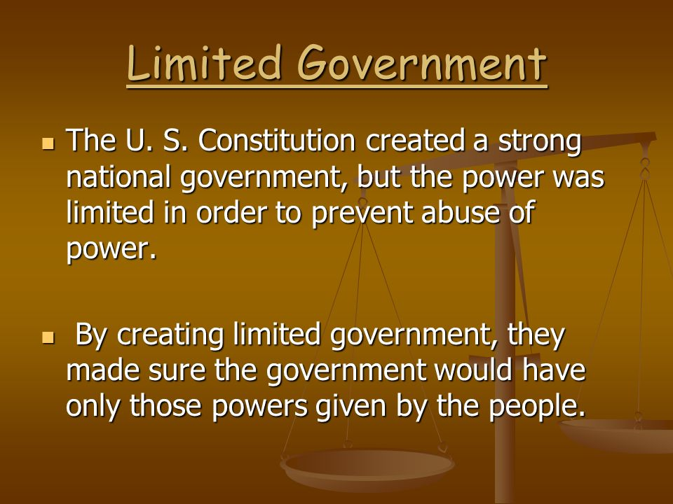 Federalism Power is shared between a strong national government and the fifty states.