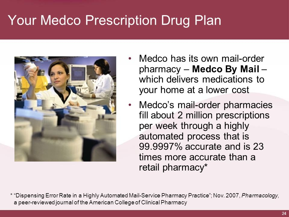 24 Your Medco Prescription Drug Plan Medco has its own mail-order pharmacy – Medco By Mail – which delivers medications to your home at a lower cost M