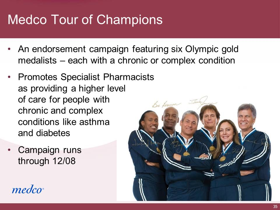 35 Medco Tour of Champions An endorsement campaign featuring six Olympic gold medalists – each with a chronic or complex condition Promotes Specialist