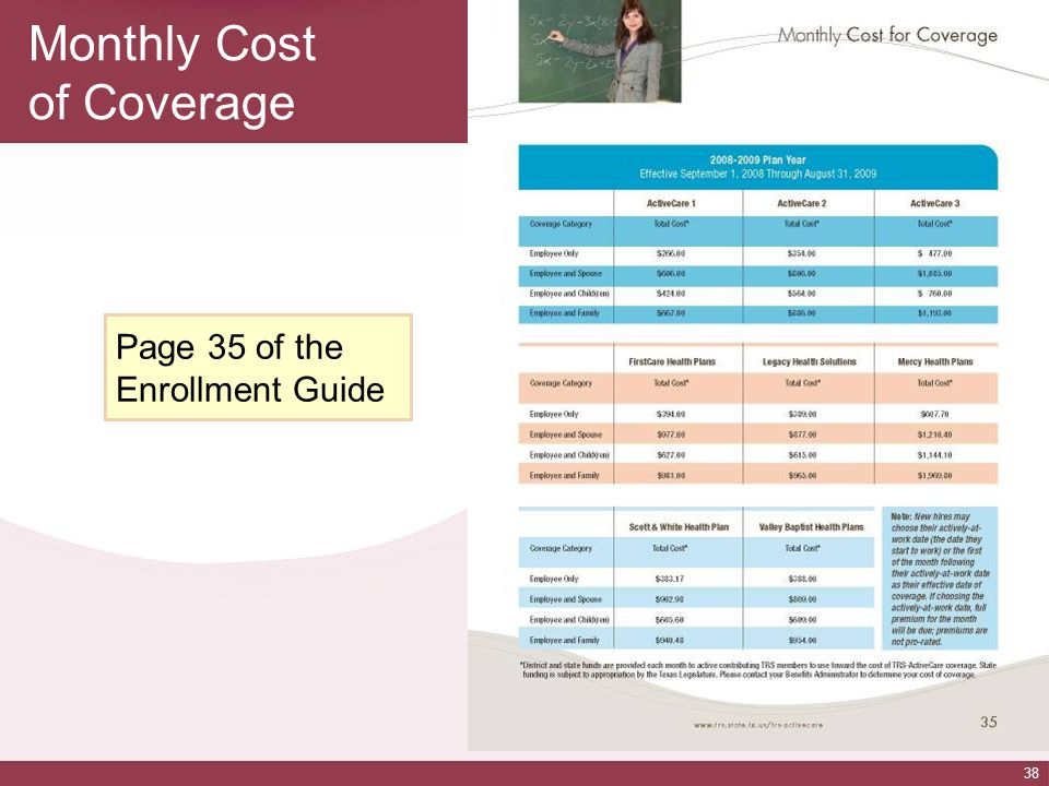 38 Monthly Cost of Coverage Page 35 of the Enrollment Guide