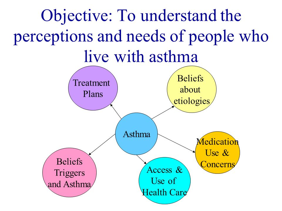 Objective: To understand the perceptions and needs of people who live with asthma Asthma Treatment Plans Beliefs about etiologies Beliefs Triggers and