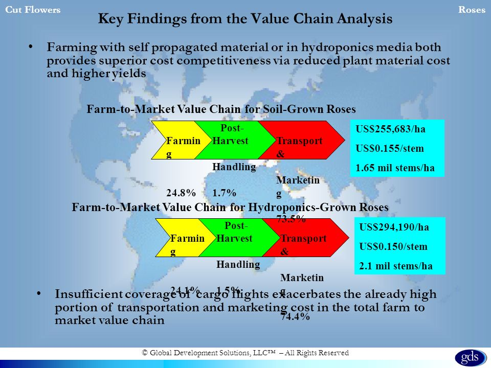 © Global Development Solutions, LLC – All Rights Reserved Key Findings from the Value Chain Analysis Farming with self propagated material or in hydroponics media both provides superior cost competitiveness via reduced plant material cost and higher yields Cut FlowersRoses Farmin g 24.1% Post- Harvest Handling 1.5% Transport & Marketin g 74.4% Farm-to-Market Value Chain for Hydroponics-Grown Roses Farm-to-Market Value Chain for Soil-Grown Roses Farmin g 24.8% Post- Harvest Handling 1.7% Transport & Marketin g 73.5% US$255,683/ha US$0.155/stem 1.65 mil stems/ha US$294,190/ha US$0.150/stem 2.1 mil stems/ha Insufficient coverage of cargo flights exacerbates the already high portion of transportation and marketing cost in the total farm to market value chain