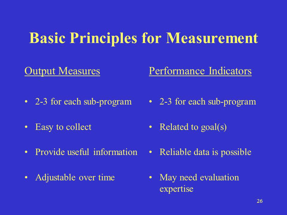 26 Basic Principles for Measurement Output Measures 2-3 for each sub-program Easy to collect Provide useful information Adjustable over time Performance Indicators 2-3 for each sub-program Related to goal(s) Reliable data is possible May need evaluation expertise