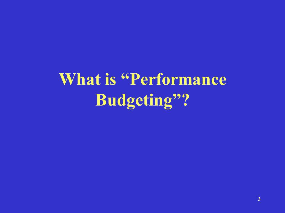 3 What is Performance Budgeting