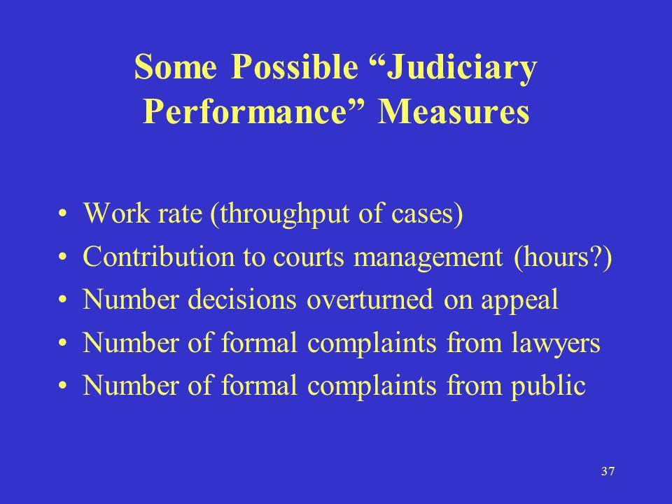 37 Some Possible Judiciary Performance Measures Work rate (throughput of cases) Contribution to courts management (hours ) Number decisions overturned on appeal Number of formal complaints from lawyers Number of formal complaints from public