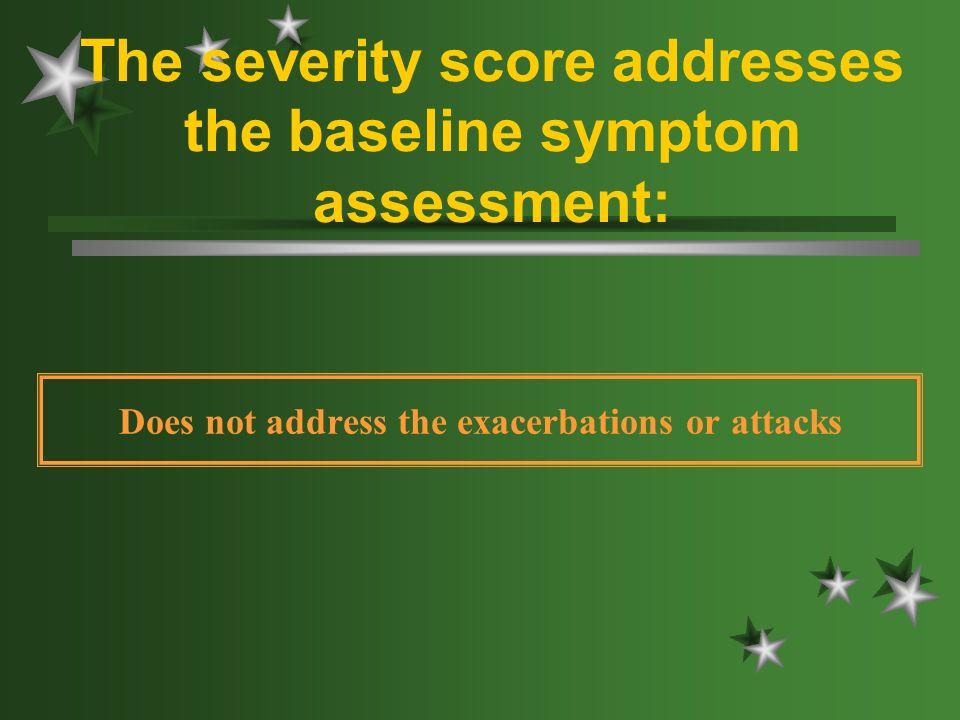 The severity score addresses the baseline symptom assessment: Does not address the exacerbations or attacks