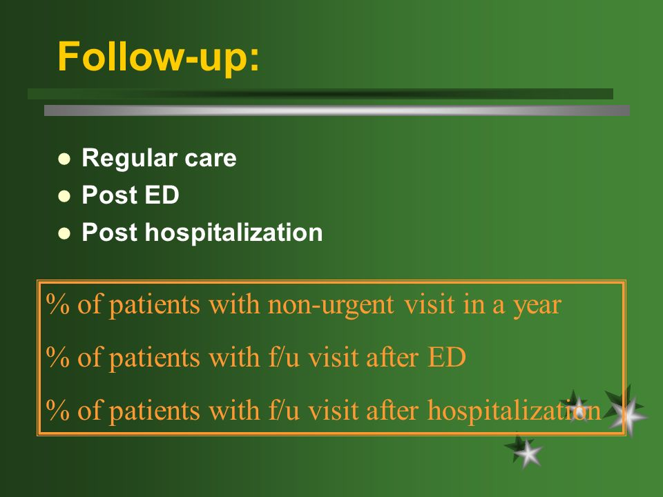 Follow-up: Regular care Post ED Post hospitalization % of patients with non-urgent visit in a year % of patients with f/u visit after ED % of patients