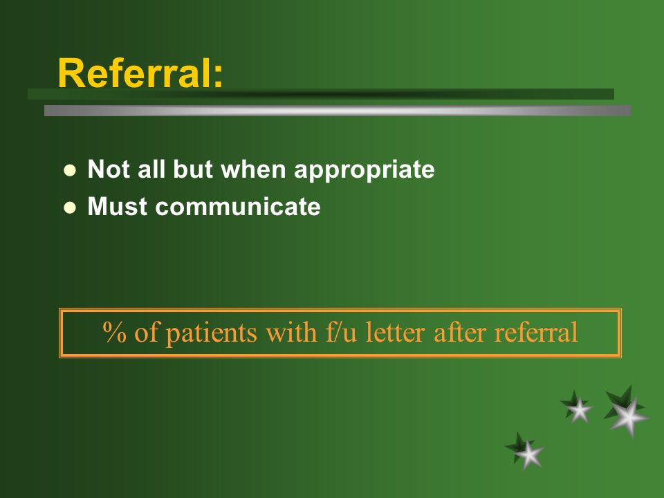 Referral: Not all but when appropriate Must communicate % of patients with f/u letter after referral