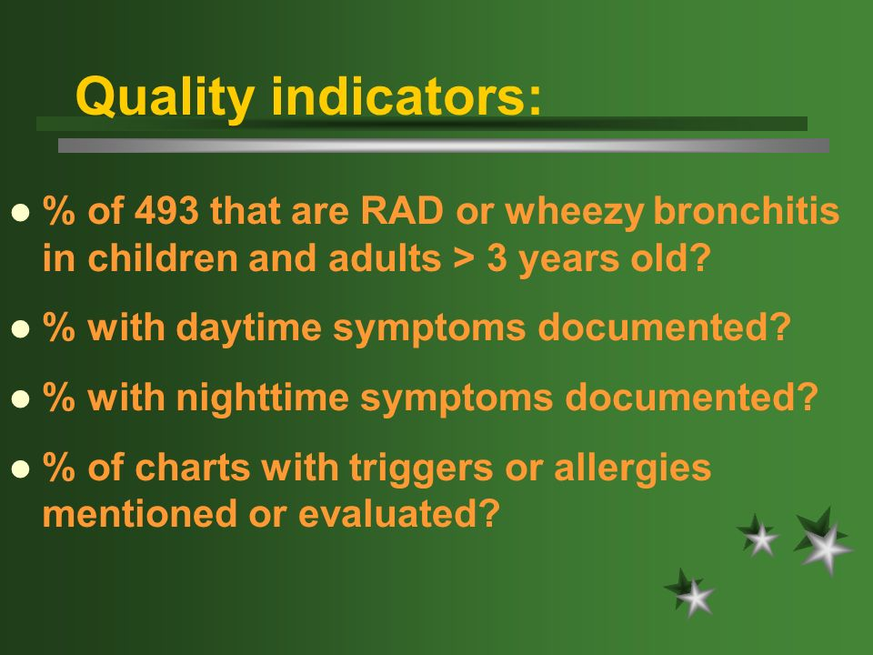 Quality indicators: % of 493 that are RAD or wheezy bronchitis in children and adults > 3 years old? % with daytime symptoms documented? % with nightt