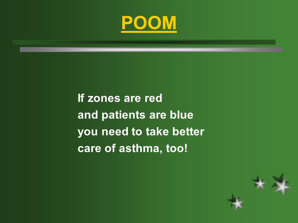 POOM If zones are red and patients are blue you need to take better care of asthma, too!