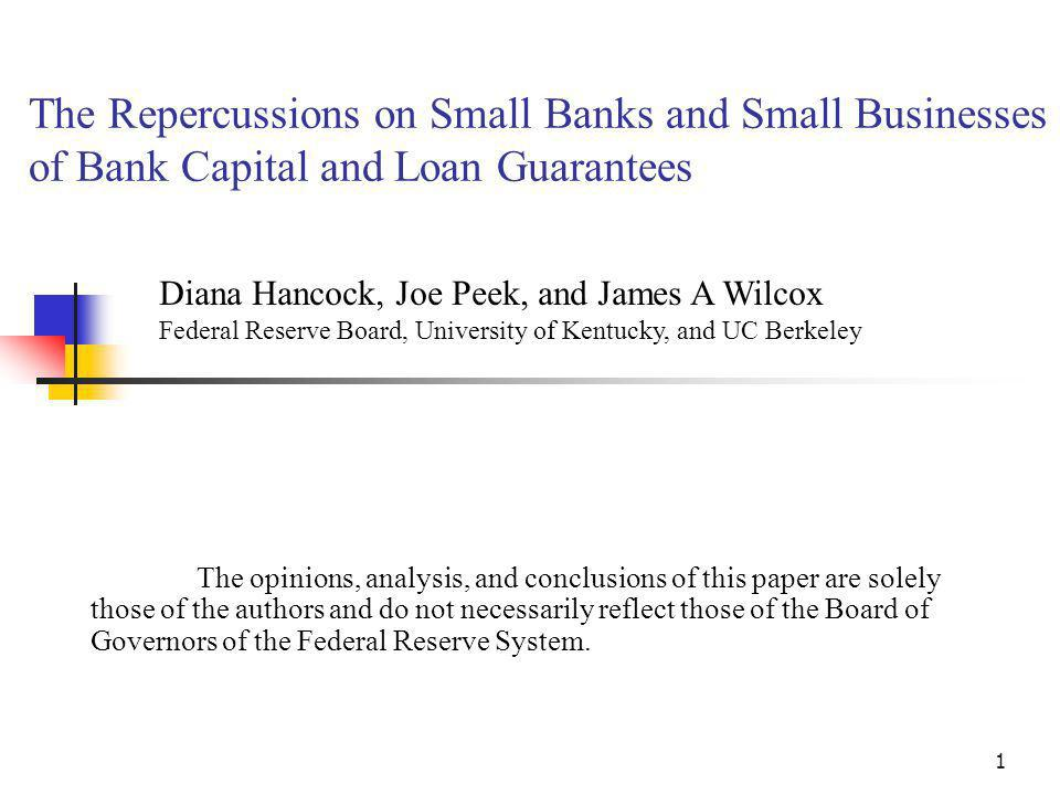 1 The Repercussions on Small Banks and Small Businesses of Bank Capital and Loan Guarantees The opinions, analysis, and conclusions of this paper are solely those of the authors and do not necessarily reflect those of the Board of Governors of the Federal Reserve System.