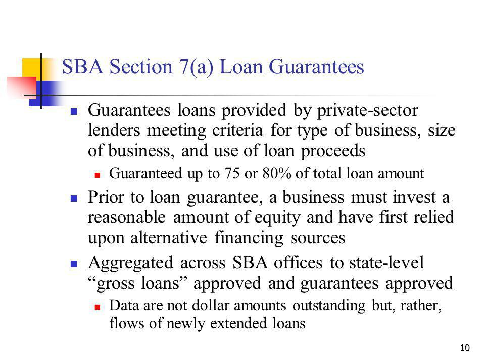10 SBA Section 7(a) Loan Guarantees Guarantees loans provided by private-sector lenders meeting criteria for type of business, size of business, and use of loan proceeds Guaranteed up to 75 or 80% of total loan amount Prior to loan guarantee, a business must invest a reasonable amount of equity and have first relied upon alternative financing sources Aggregated across SBA offices to state-level gross loans approved and guarantees approved Data are not dollar amounts outstanding but, rather, flows of newly extended loans