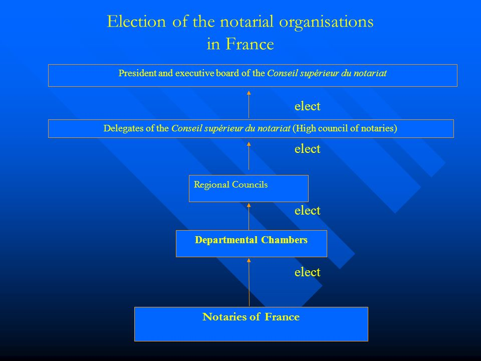 Election of the notarial organisations in France Departmental Chambers Notaries of France Regional Councils Delegates of the Conseil supérieur du notariat (High council of notaries) President and executive board of the Conseil supérieur du notariat elect