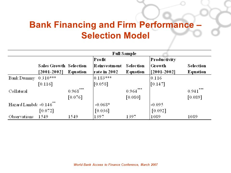 World Bank Access to Finance Conference, March 2007 Bank Financing and Firm Performance – Selection Model
