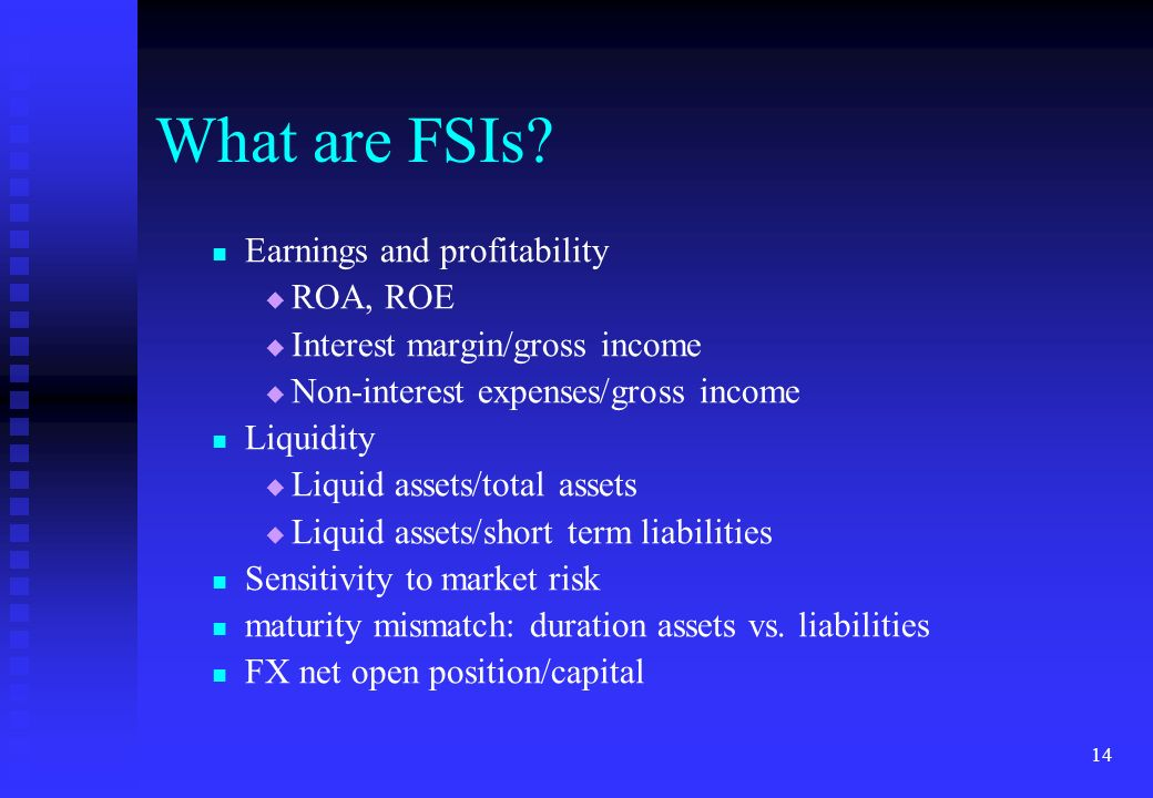 14 What are FSIs? Earnings and profitability ROA, ROE Interest margin/gross income Non-interest expenses/gross income Liquidity Liquid assets/total as