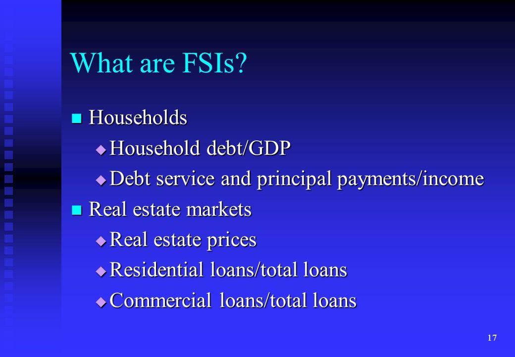 17 What are FSIs? Households Households Household debt/GDP Household debt/GDP Debt service and principal payments/income Debt service and principal pa