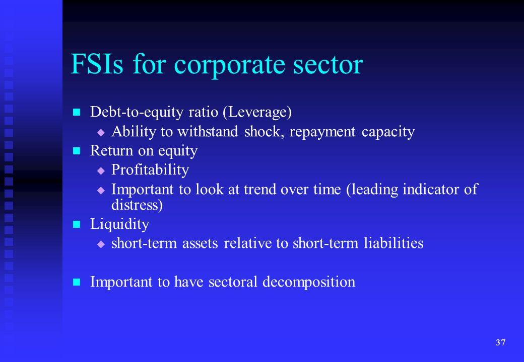 37 FSIs for corporate sector Debt-to-equity ratio (Leverage) Ability to withstand shock, repayment capacity Return on equity Profitability Important t