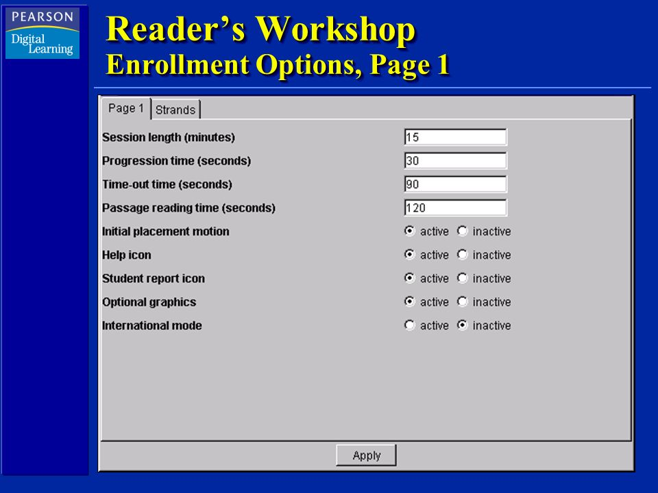 Readers Workshop Enrollment Options, Page 1