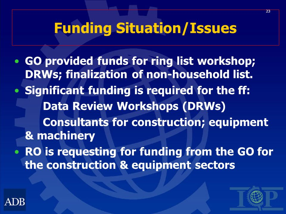 23 Funding Situation/Issues GO provided funds for ring list workshop; DRWs; finalization of non-household list.
