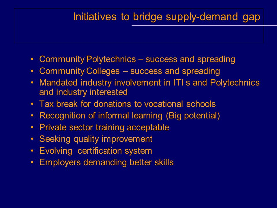 Initiatives to bridge supply-demand gap Community Polytechnics – success and spreading Community Colleges – success and spreading Mandated industry involvement in ITI s and Polytechnics and industry interested Tax break for donations to vocational schools Recognition of informal learning (Big potential) Private sector training acceptable Seeking quality improvement Evolving certification system Employers demanding better skills