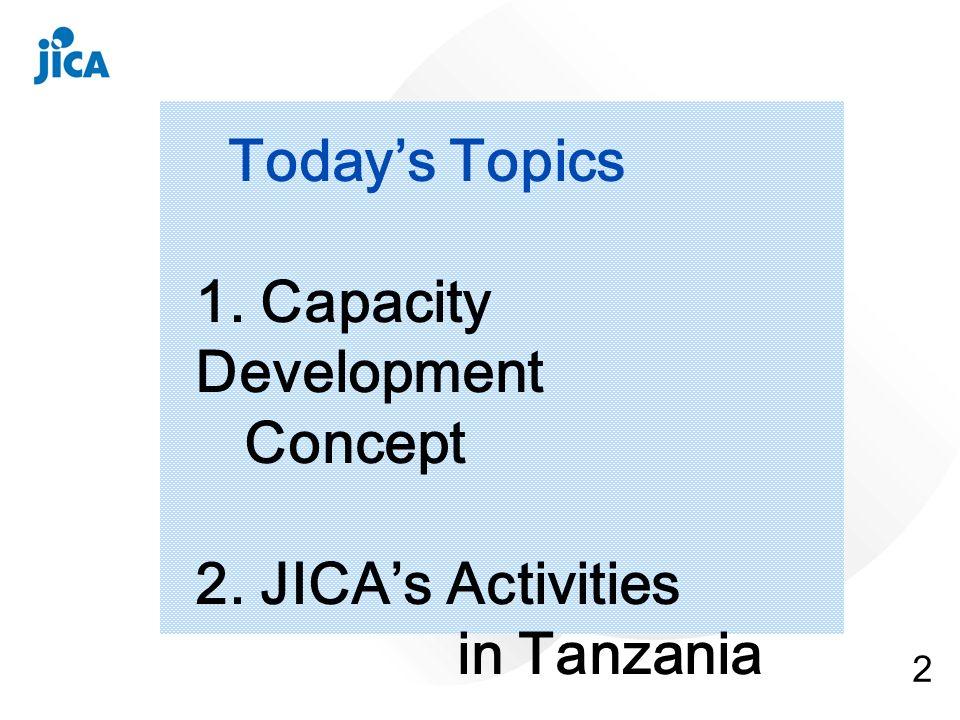 2 Todays Topics 1. Capacity Development Concept 2. JICAs Activities in Tanzania