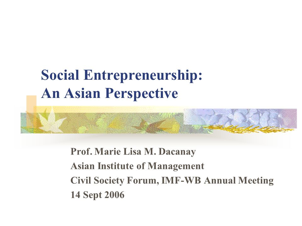 Social Entrepreneurship: An Asian Perspective Prof. Marie Lisa M. Dacanay Asian Institute of Management Civil Society Forum, IMF-WB Annual Meeting 14