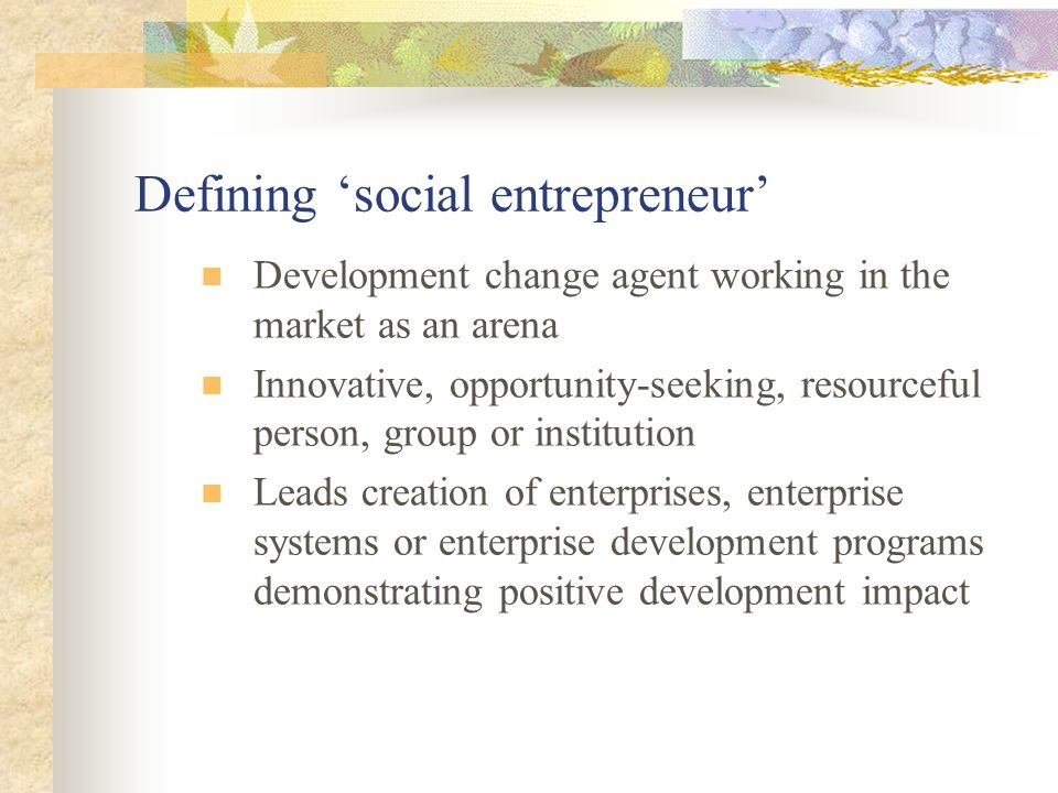 Defining social entrepreneur Development change agent working in the market as an arena Innovative, opportunity-seeking, resourceful person, group or institution Leads creation of enterprises, enterprise systems or enterprise development programs demonstrating positive development impact