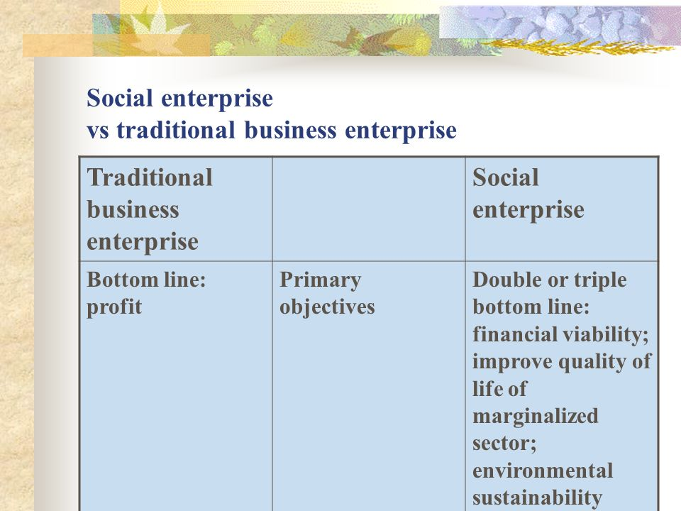 Social enterprise vs traditional business enterprise Traditional business enterprise Social enterprise Bottom line: profit Primary objectives Double or triple bottom line: financial viability; improve quality of life of marginalized sector; environmental sustainability