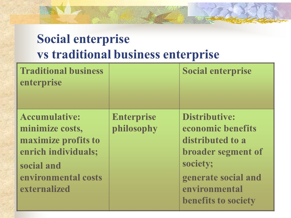 Social enterprise vs traditional business enterprise Traditional business enterprise Social enterprise Accumulative: minimize costs, maximize profits to enrich individuals; social and environmental costs externalized Enterprise philosophy Distributive: economic benefits distributed to a broader segment of society; generate social and environmental benefits to society