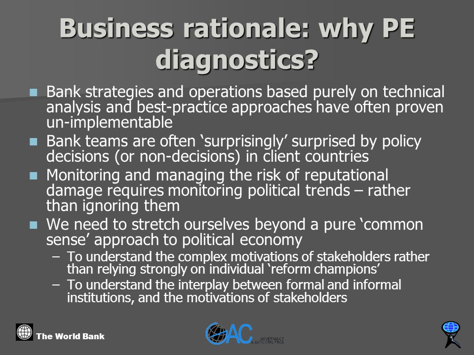 The World Bank Business rationale: why PE diagnostics.