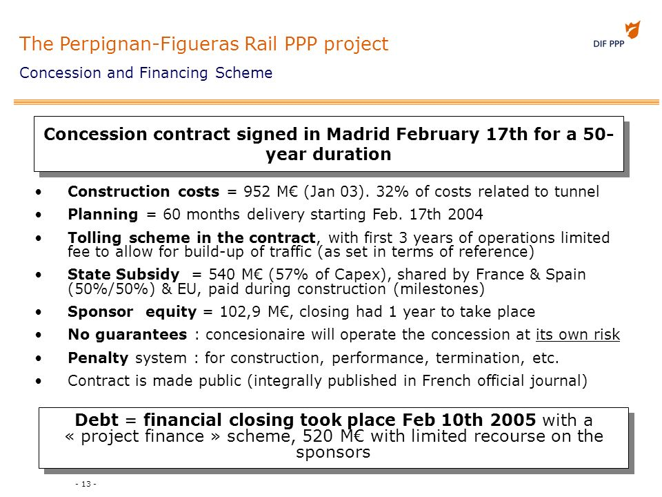 - 13 - Concession contract signed in Madrid February 17th for a 50- year duration Construction costs = 952 M (Jan 03). 32% of costs related to tunnel