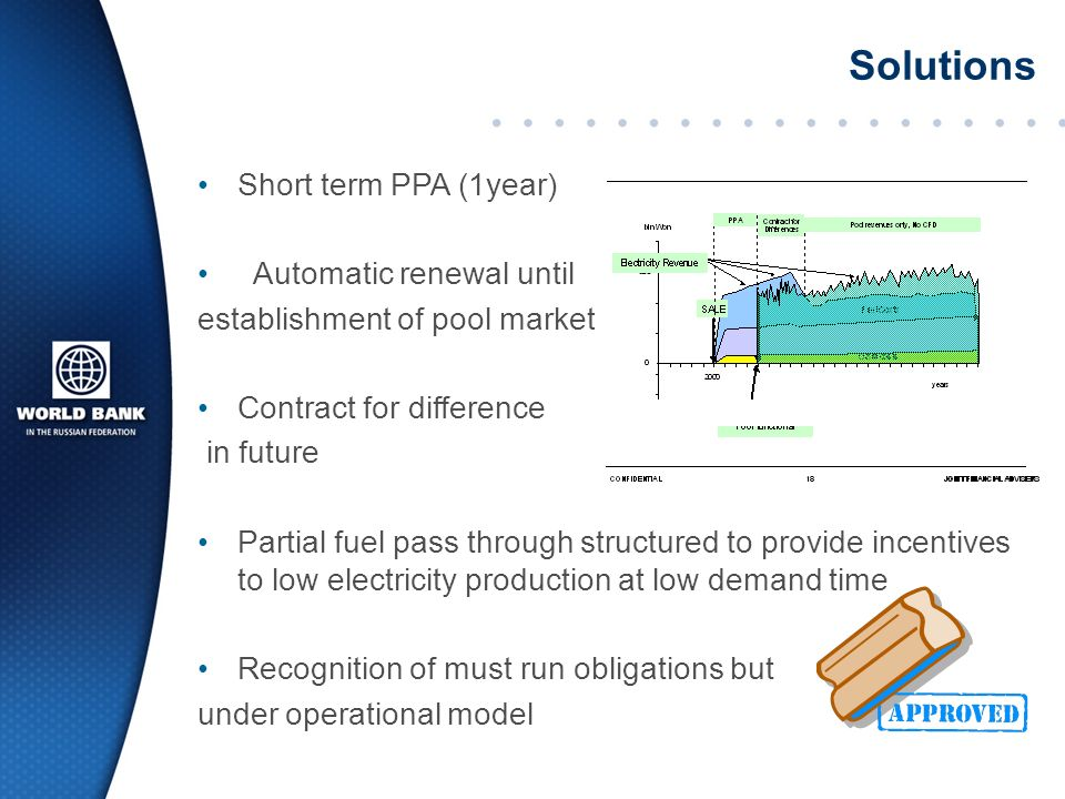 Short term PPA (1year) Automatic renewal until establishment of pool market Contract for difference in future Partial fuel pass through structured to provide incentives to low electricity production at low demand time Recognition of must run obligations but under operational model Solutions