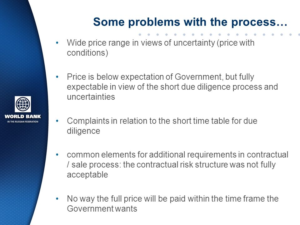 Some problems with the process… Wide price range in views of uncertainty (price with conditions) Price is below expectation of Government, but fully expectable in view of the short due diligence process and uncertainties Complaints in relation to the short time table for due diligence common elements for additional requirements in contractual / sale process: the contractual risk structure was not fully acceptable No way the full price will be paid within the time frame the Government wants
