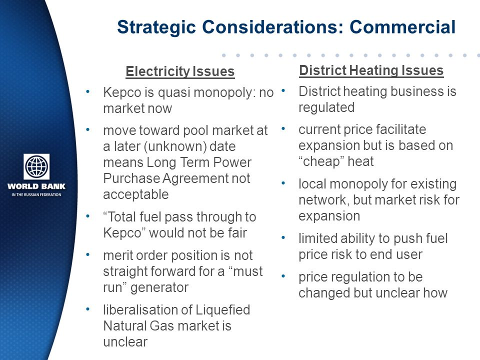 The Challenges Contractual structure: must run? fuel pass through? PPA vs pool?