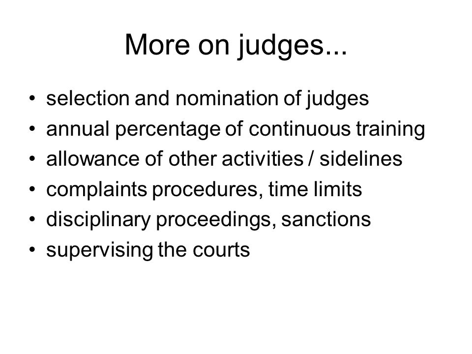 More on judges...