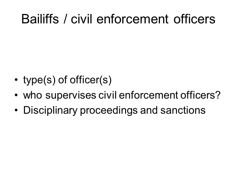 Bailiffs / civil enforcement officers type(s) of officer(s) who supervises civil enforcement officers.