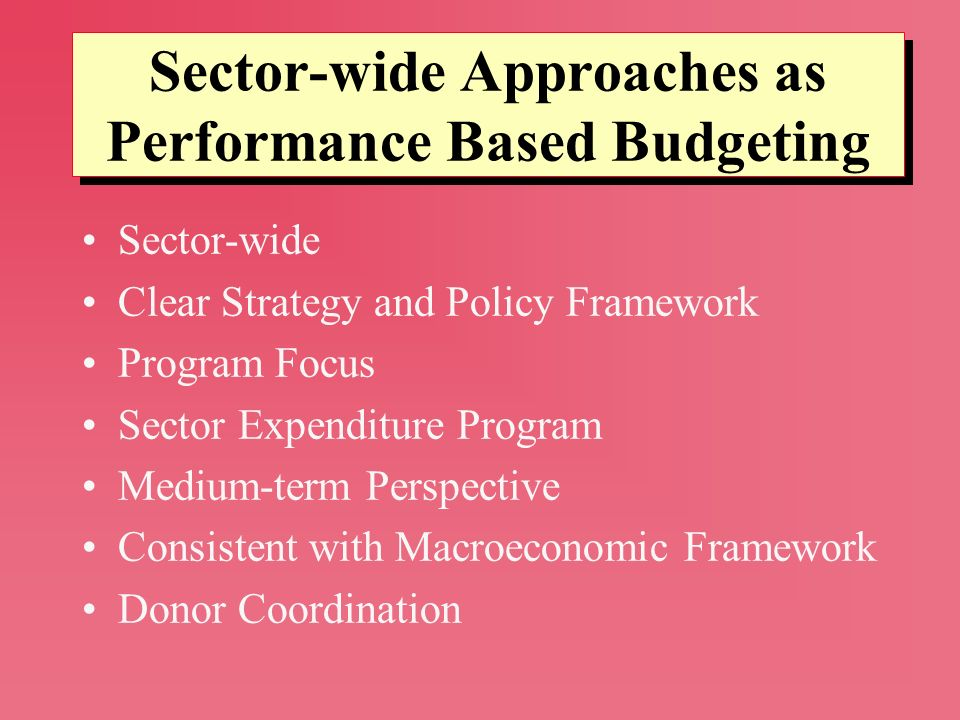 Sector-wide Clear Strategy and Policy Framework Program Focus Sector Expenditure Program Medium-term Perspective Consistent with Macroeconomic Framewo