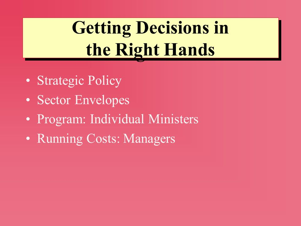 Strategic Policy Sector Envelopes Program: Individual Ministers Running Costs: Managers Getting Decisions in the Right Hands