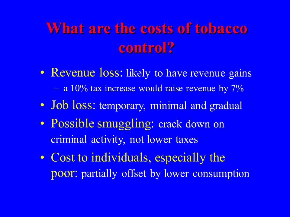 What are the costs of tobacco control.