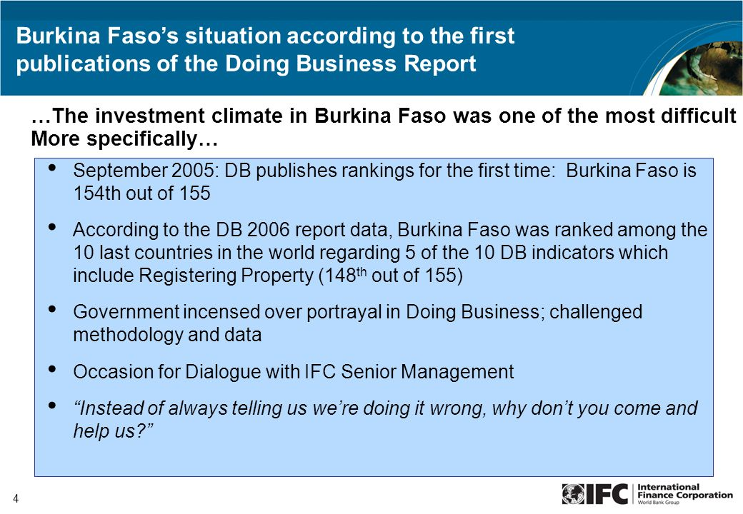 4 September 2005: DB publishes rankings for the first time: Burkina Faso is 154th out of 155 According to the DB 2006 report data, Burkina Faso was ra