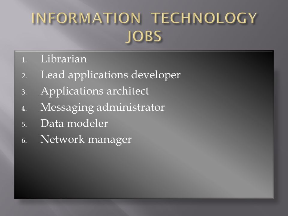 1. Librarian 2. Lead applications developer 3. Applications architect 4. Messaging administrator 5. Data modeler 6. Network manager