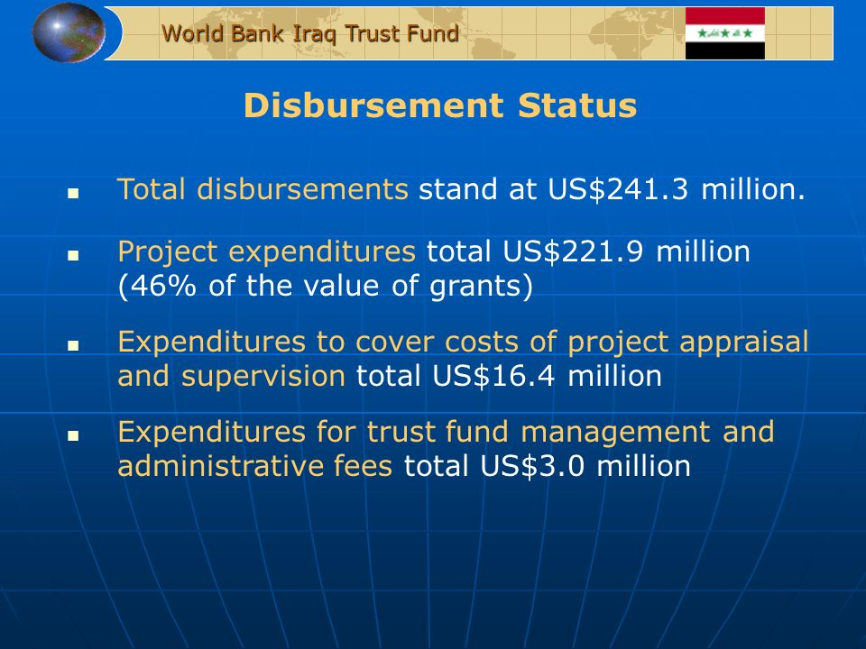 Disbursement Status World Bank Iraq Trust Fund Total disbursements stand at US$241.3 million. Project expenditures total US$221.9 million (46% of the