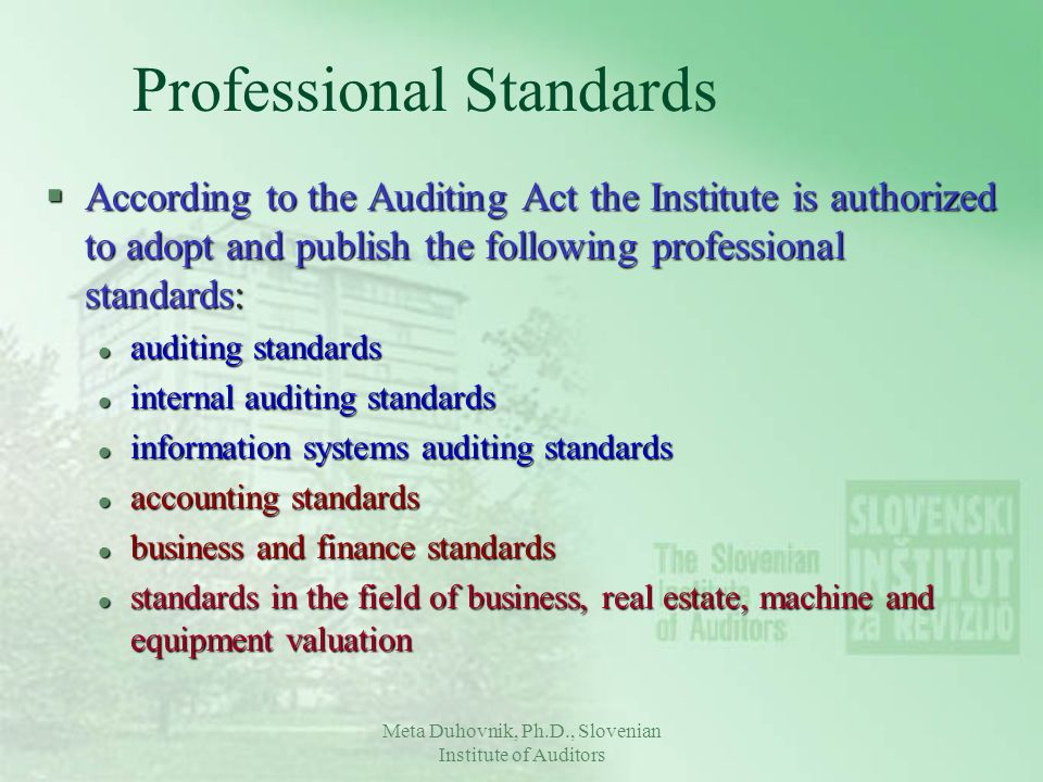 Professional Standards §According to the Auditing Act the Institute is authorized to adopt and publish the following professional standards: l auditin