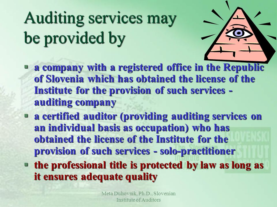 Meta Duhovnik, Ph.D., Slovenian Institute of Auditors Auditing services may be provided by §a company with a registered office in the Republic of Slov