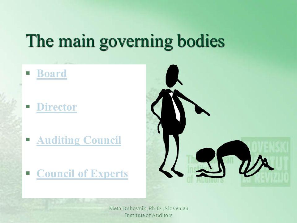 Meta Duhovnik, Ph.D., Slovenian Institute of Auditors The main governing bodies §BoardBoard §DirectorDirector §Auditing CouncilAuditing Council §Counc