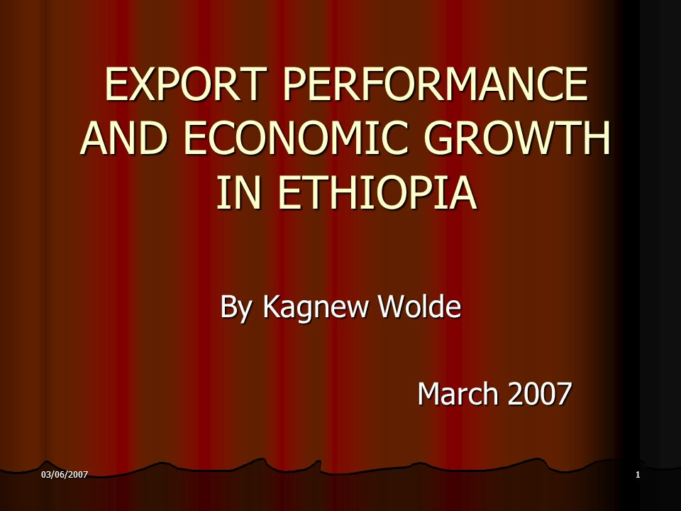 2 03/06/2007 Like other SSA economies, the Ethiopian economy is essentially agricultural based and highly dependant on earnings of fragmented household agricultural activities.