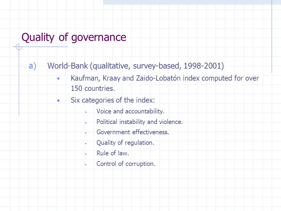 Quality of governance a) World-Bank (qualitative, survey-based, 1998-2001) Kaufman, Kraay and Zaido-Lobatón index computed for over 150 countries.